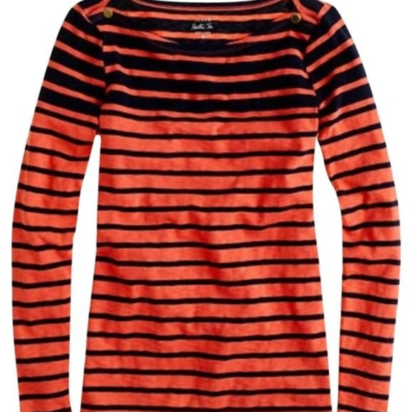 d79a69f643 J. Crew Tops | J Crew Painter Boatneck Coral Navy Striped Tee | Poshmark